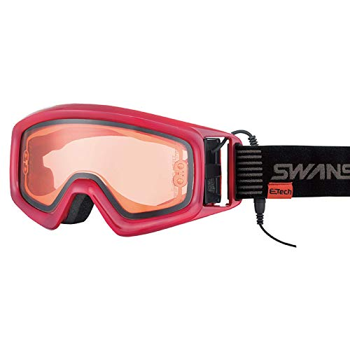 【国産ブランド】SWANS(スワンズ) スキー スノーボード ゴーグル メガネ対応 発熱レンズ ヘリ ワイン HELI-XED