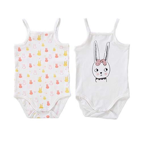 55a4061f9b2e3 Baby nest 二枚組 キャミソール ロンパース 肌着 ベビー服 夏 女の子 綿 ウサギセット 6-9ヶ月