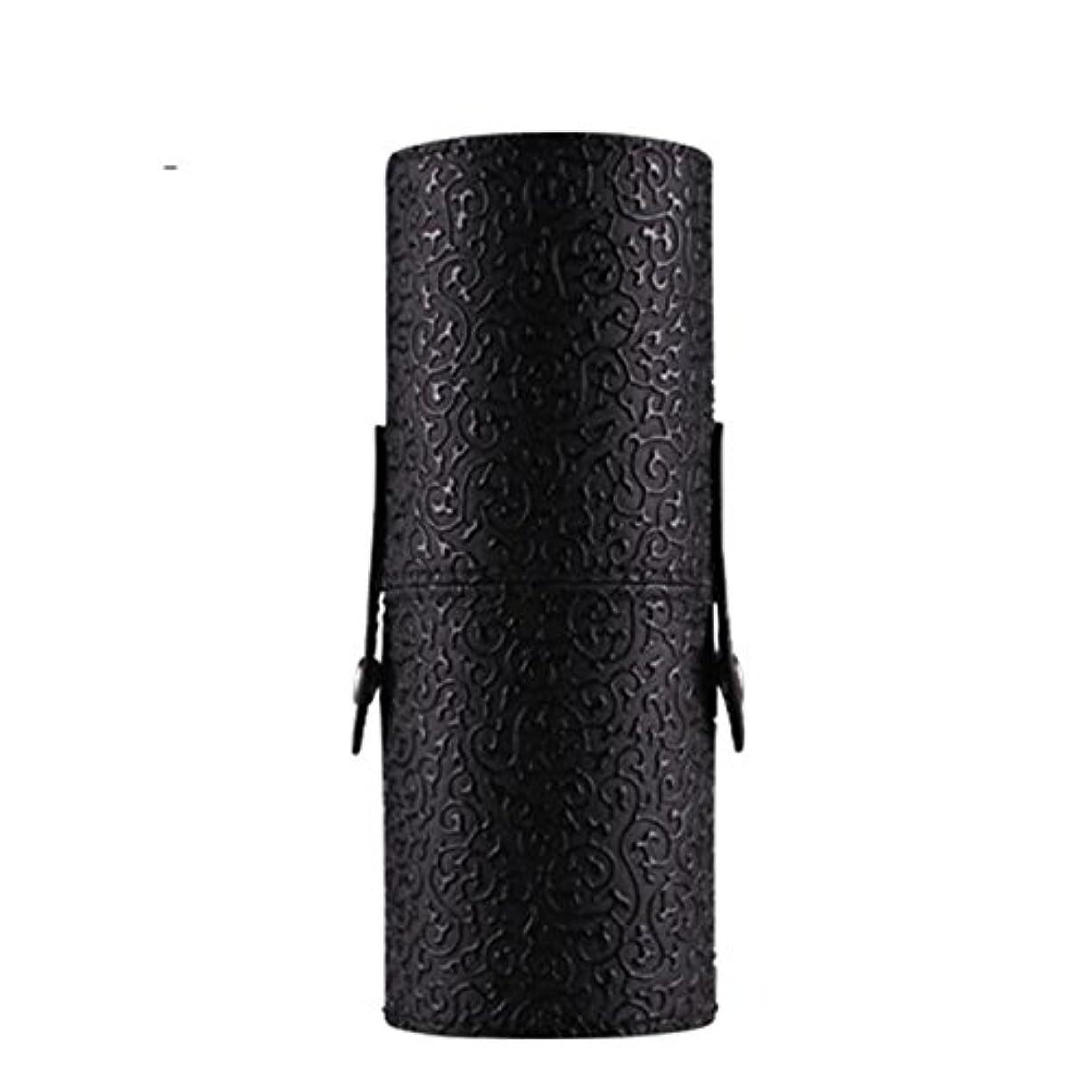 ビジター覗くジャンルFortan化粧ポーチ PU革 雲紋 化粧ブラシ 収納筒 メイクボックス コスメポーチ メイクアップポーチ 携帯し易い (黒色)