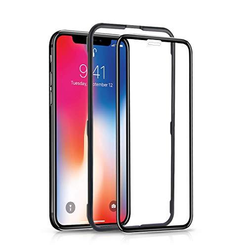 iPhone X/iPhone XS 全面保護フィルム アイフォン10 ガラスフィルム 液晶強化ガラス【ガイド枠付き】全面フルカバー 9H 高透過率 HD 指紋防止 滑りいい 極薄 強化ガラス クリア (iphoneX ブラック)