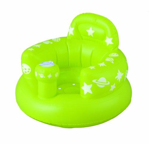 首がすわってから使えるバスチェア バスソファ ポンプアップ ヘッドレスト付き グリーン