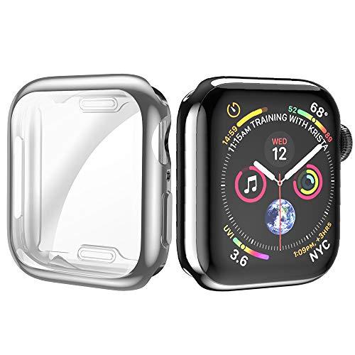 Movone for Apple Watch4 カバー 44mm Apple Watch フルケース TPU素材 メーキ加工 全面保護 アップルウォッチ4 カバー Apple Watch フィルム 高感度 耐衝撃性 軽量超簿 装着簡単 Apple Watch Series 4に対応 (44mm/シルバー)