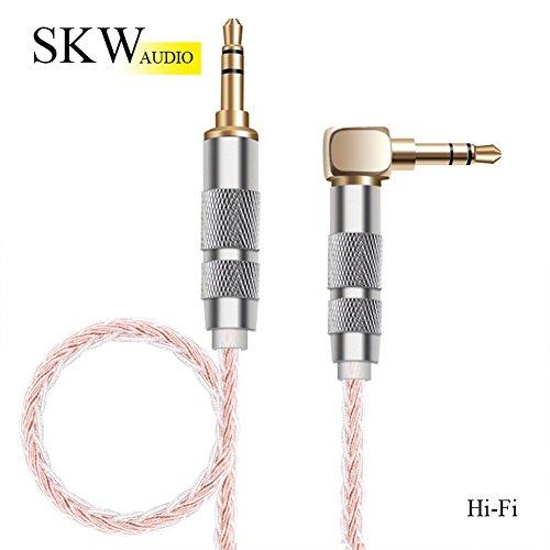 SKW 高音質aux ケーブル片側L型 3.5 mm ステレオミニプラグ ヘッド...