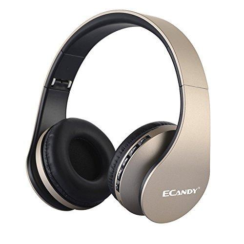 Ecandy ワイヤレス ステレオBluetooth3.0+ EDRヘッドセット マイク付MP3プレーヤー/MicroSD / TF 音楽 /FMラジオ 4in1 多機能 (金色) LH-811