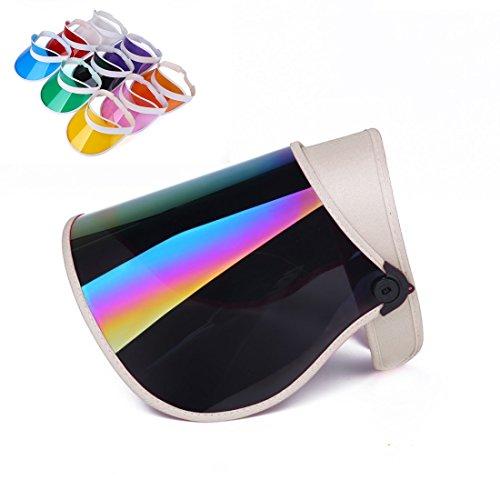 SUNNY UVカット サンバイザー つば広 帽子 ミラー ワイド フルフェイス 1点購入でもう1点プレゼント 角度調整 高耐久性 日よけ 紫外線 日焼け (ホワイト)