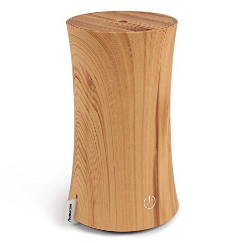 アロマディフューザー 加湿器 卓上超音波 センサー付き 木目調 部屋会社など各場所用 7色変換  連続加湿 空焚き防止 低騒音 おしゃれ省エネの空気清浄芳香器 乾燥対策 涼しい霧で潤い 300ml (イエロー)