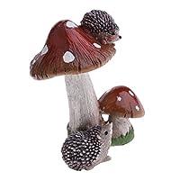 Perfk 全8種 マイクロ風景置物 キノコ ミニチュア ドールハウス ガーデニング 飾り物 庭の装飾 樹脂     - ヘッジホッグブラウンキノコ
