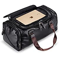 New Mens Black Large Leather Travel Gym Bag Weekend Overnight Duffle Bag Handbag