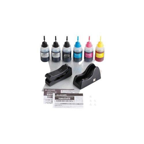 【2011年モデル】エレコム 詰め替えインク キャノン BCI-321 BCI-320PGBK対応 5色セット 5回分 リセッター付 THC-MP640SETN