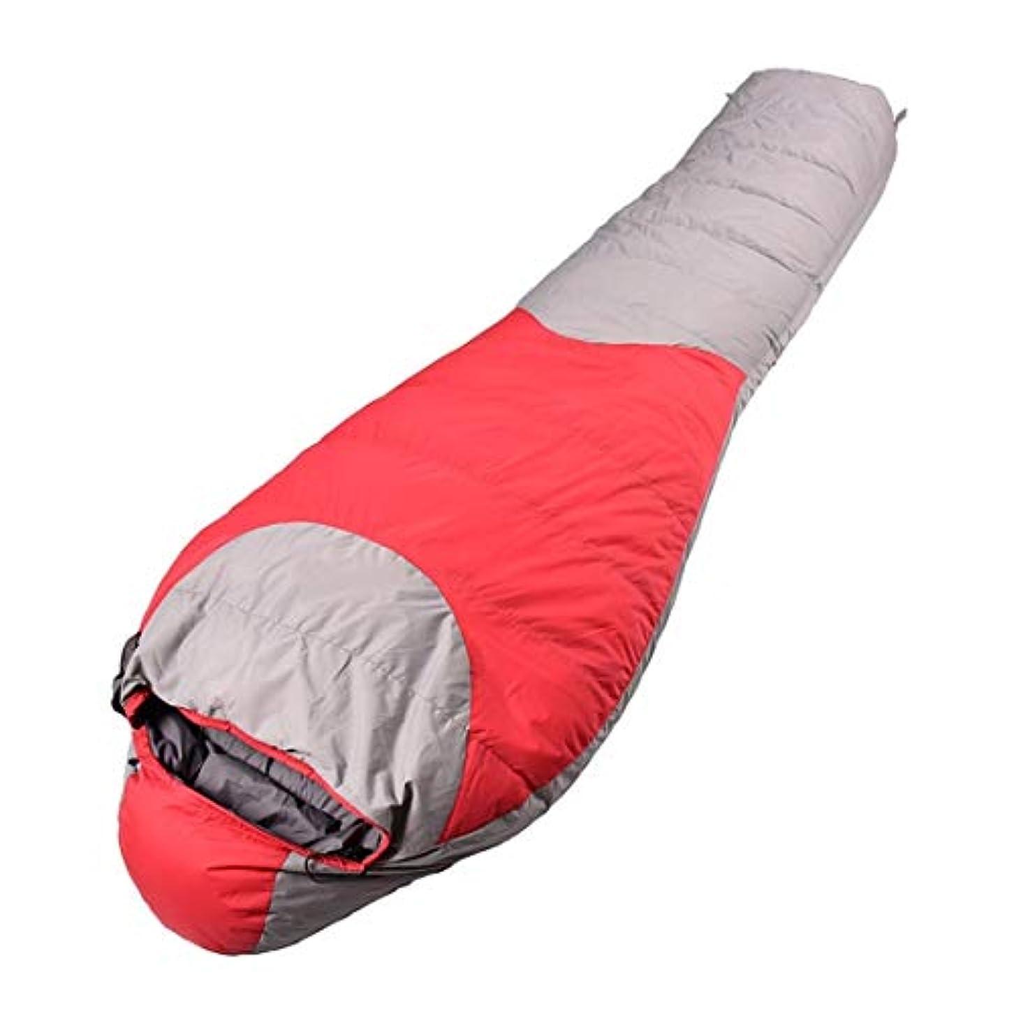 ゴネリルアッパー付けるKoloeplf 防水ダウン寝袋グースダウン冬のアウトドアキャンプ寝袋卸売ミイラ (Color : Red)