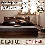 棚・コンセント付きフロアベッド【Claire】クレール【ボンネルコイルマットレス:レギュラー付き】ダブル/ダブルベッド (ウォルナットブラウン) ¥ 52,299