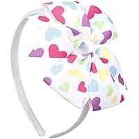 Dingyou Sturdy New Valentine Day Peach Heart Print Pattern Children'S Headband Headdress Hair Accessories Baby Girls Flower Headband(None 029)