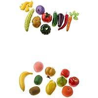 Fenteer 20個 人工 野菜 フルーツ 生き生き 幼児教育小道具 写真 映画 小道具