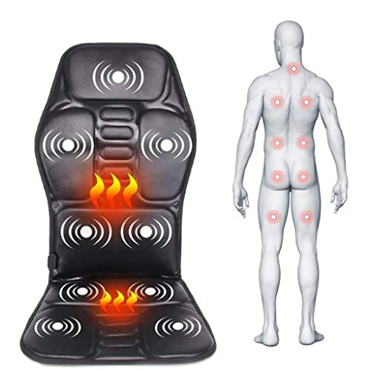 老朽化した家庭フィードバックマッサージクッション、電動ポータブル暖房/振動/マッサージ、カー/ホーム/オフィスでの使用、腰と首の痛みを和らげるには、血液循環を促進、疲労を和らげます