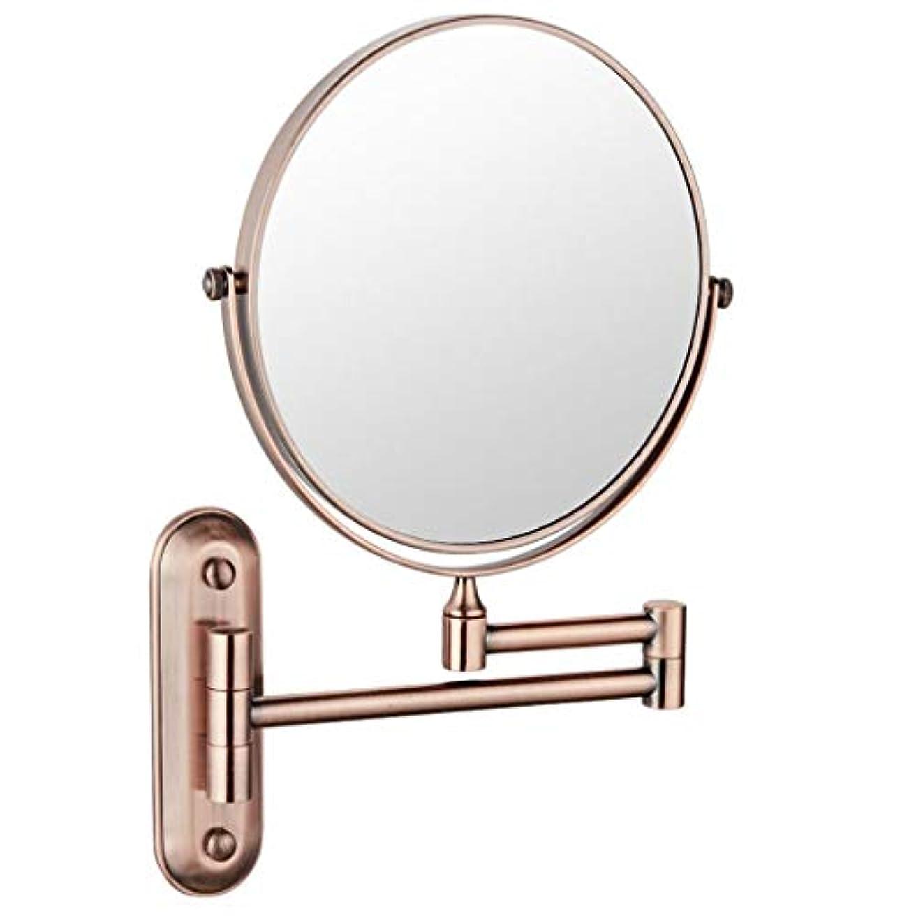 幻滅する旅行豆HUYYA シェービングミラー 壁付、バスルームメイクアップミラー 6インチ360度回転 化粧鏡 両面 バニティミラー 丸め 寝室や浴室に適しています,Rose gold_3x