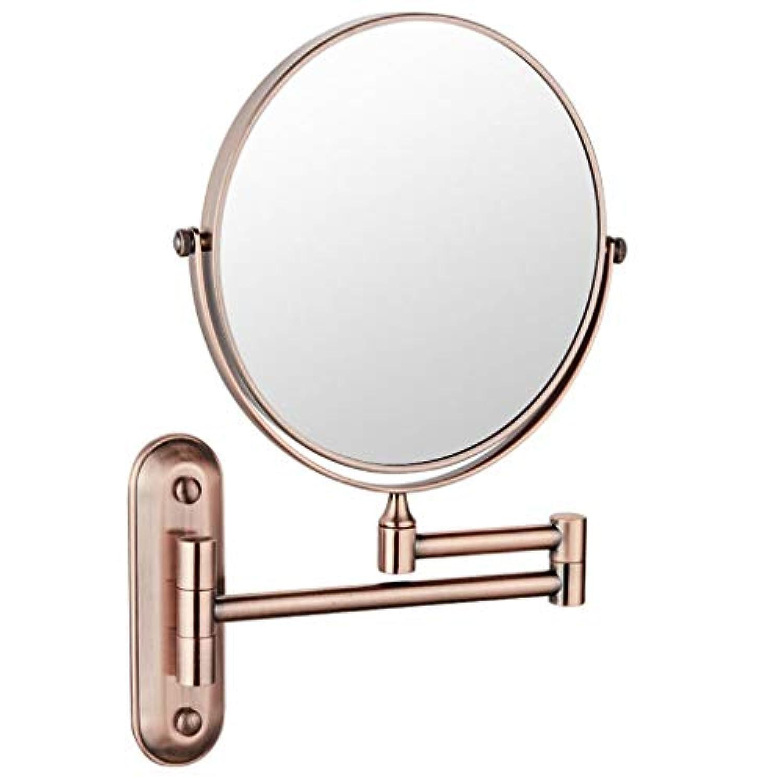 ガジュマル回転雑草HUYYA シェービングミラー 壁付、バスルームメイクアップミラー 6インチ360度回転 化粧鏡 両面 バニティミラー 丸め 寝室や浴室に適しています,Rose gold_3x