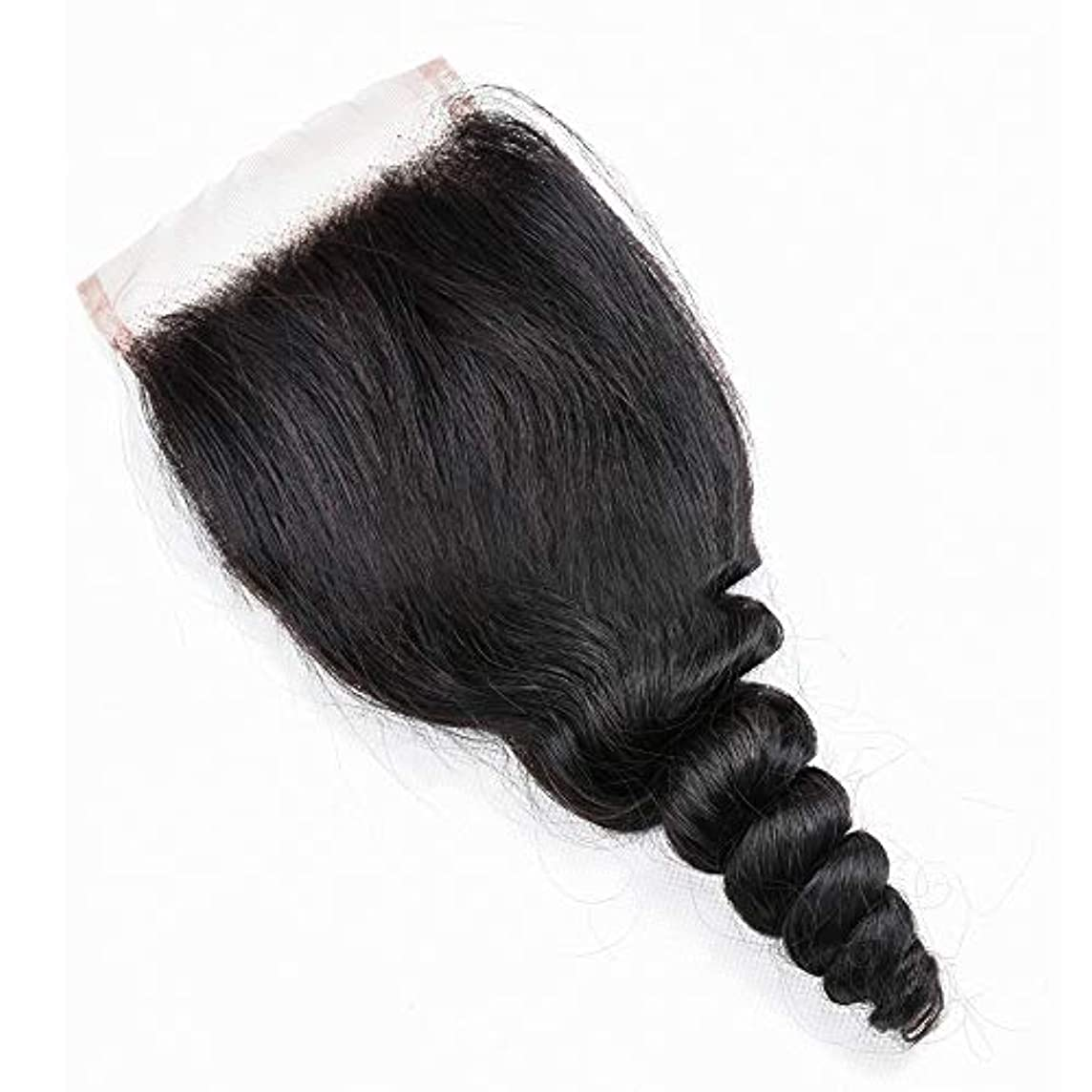交換可能エスカレート分離するWASAIO レース閉鎖緩い波ブラジルバージン人間の髪の毛 (色 : 黒, サイズ : 14 inch)