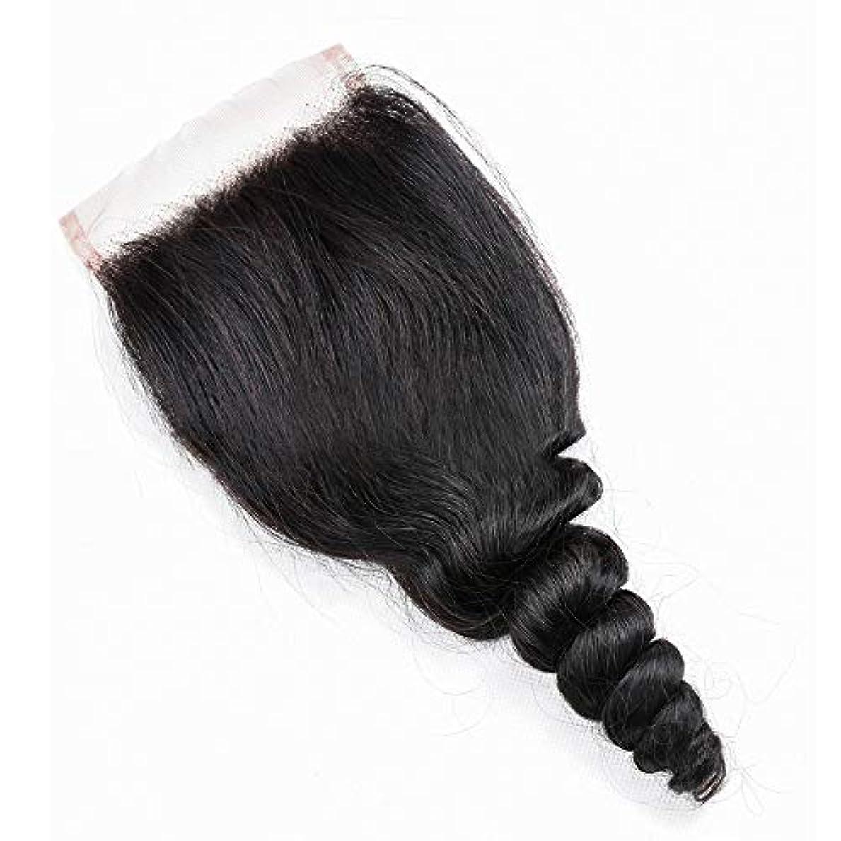 WASAIO レース閉鎖緩い波ブラジルバージン人間の髪の毛 (色 : 黒, サイズ : 14 inch)