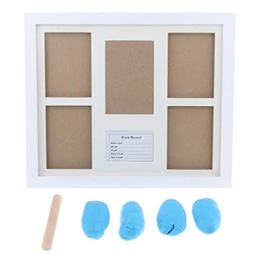 協力する思慮深い結婚するB Baosity 赤ちゃんのフォトフレーム手帳のフットプリントタッチインクパッドの写真フレームライトブルー - 青