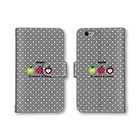 【ノーブランド品】 Xperia Z4 SOV31 スマホケース 手帳型 フルーツ イラスト ドット柄 水玉模様 グレー チャコール 灰色 かわいい おしゃれ 携帯カバー SOV31 ケース 携帯ケース エクスぺリア