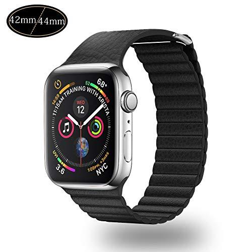 Xboun コンパチブル apple watch バンド,本革 ビジネス用 アップルウォッチバンド マグネットロック Apple Watch Series 4/3/2/1 (42mm/44mm, ブラック)