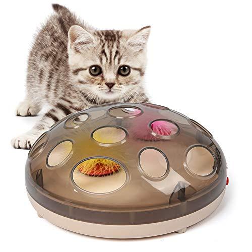 猫おもちゃ 猫玩具 猫用品 電動おもちゃ 猫用電動おもちゃ ねこ 猫おもちゃ 羽 羽じゃらし 磁気浮上電動玩具 猫じゃらし 猫運動不足 ストレス解消対策 電動猫おもちゃ 電動猫じゃらし キャット用品 ペット用品 ペットおもちゃ (ブラウン)