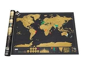 STW - 世界地図 - 黒色鍍金 - サイズ32.5ⅹ23.4インチ、世界触れ合い旅行ポスター、こそぐ地図 Scratch map‐明るい色彩豪華版