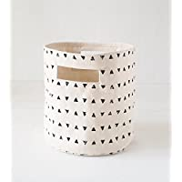 Storage basket, triangle print, black and white, canvas fabric, laundry hamper, fabric bucket, sizes available (12x14)
