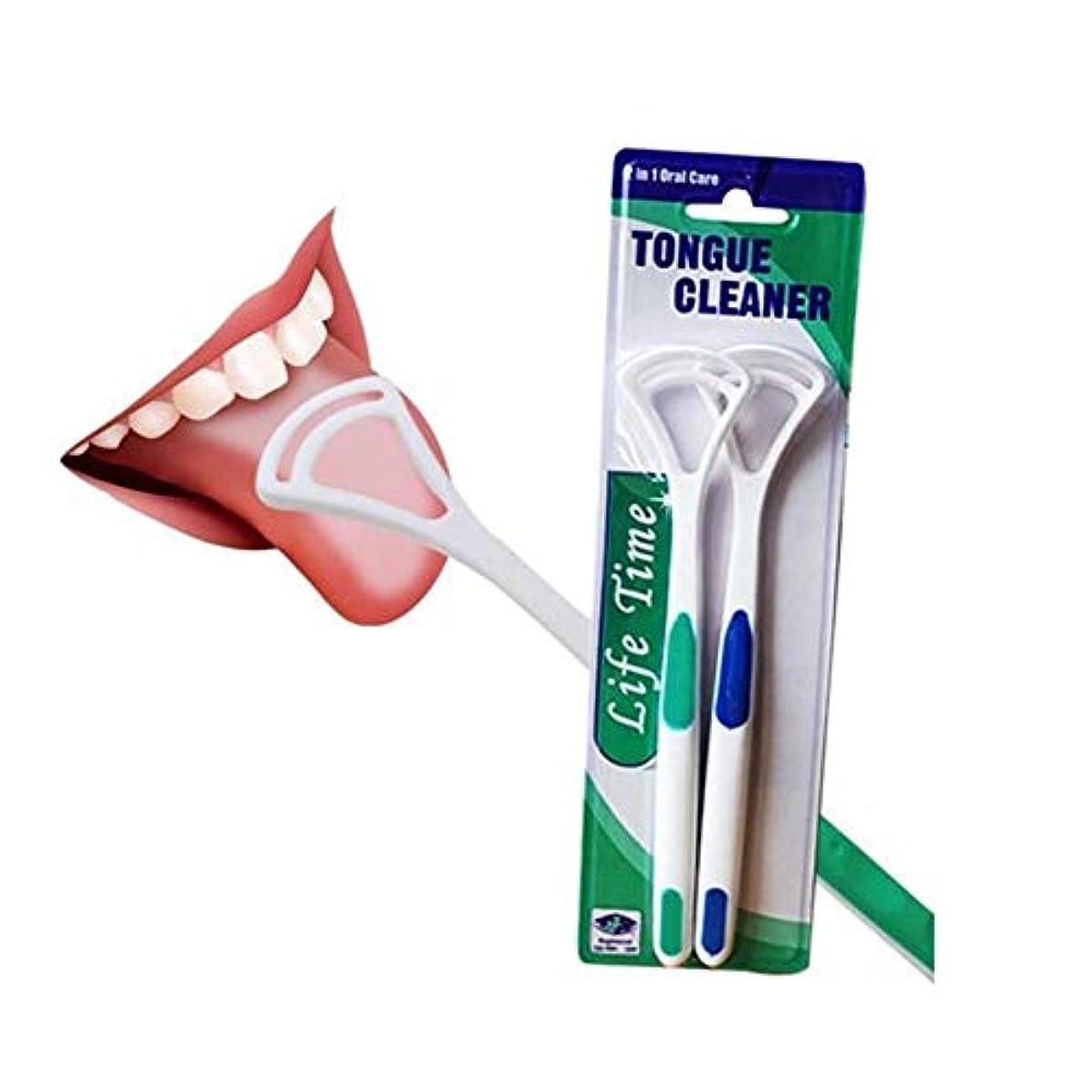 ZHQI-HEAL 4ピース新しいホット舌クリーナースクレーパースクラッチ舌コーティングブラシクリーナーシリカハンドル口腔衛生家族歯ケアツール (色 : Blue/green)