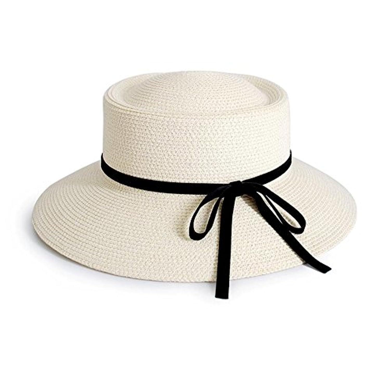 HONEY 女性の麦わら帽子 ボウラーハット フランススタイルのバイザーハット 夏 バケツ帽子   女性