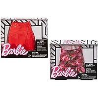 バービー 人形 洋服 レッド & フラワープリント スカート2個セット 01 [並行輸入品]