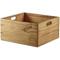 Design Ideas Marindi 収納ボックス 15インチ x 16インチ x 8インチ 大型マインド木製収納 クレートハンドル ブラウン