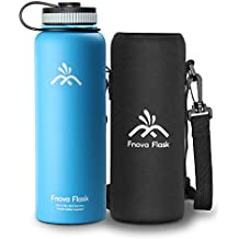 40 oz Stainless Steel Water Bottle, Fnova Flask 40oz Insulated Double Walled Vacuum Thermos, Wide Mouth bouns Protective Pouch/Carry Cover, BPA-Free, Cold 24 Hrs/Hot 12 Hrs (Blue, 40 oz)