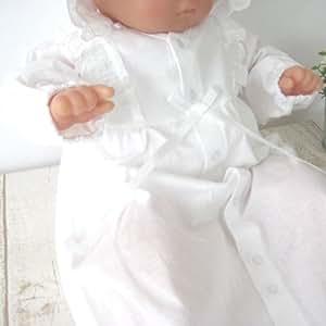 日本製 夏物素材 新生児ベビードレス お宮参り退院時に! お帽子付き2点セット 36508 初宮参り 洋装