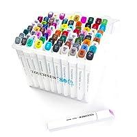 TouchNew 7代 マーカーペン80色 油性マーカー 2種類のペン先 太字 細字 塗り絵、絵描き、落書きなどに適用(2本ペンとカラーブレンダー付き)