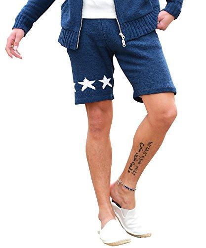 ルービック(RUBIK) ハーフパンツ メンズ ショートパンツ ボア 星柄 スター 短パン パイル もこもこ L ネイビー