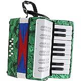 F Fityle 17キー 8ベース ピアノアコーディオン 鍵盤アコーディオン 手風琴 全4色 - グリーン