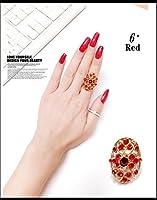 FLB-01 キラキラ上品なフリーサイズラインストーンリング 9色 (6# 赤色)