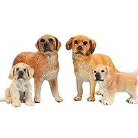 FLORMOON ゴールデンレッドフォードハウンド 置物 4個 現実的 動物の姿 早期教育 犬のフィギュア 科学プロジェクト クリスマス お誕生日 ケーキトッパー ベビーシャワー ギフト キッズ幼児