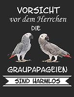 Vorsicht vor dem Herrchen die Graupapageien sind Harmlos: Notizbuch A4 Kariert Lustig Geschenk mit Spruch Papagei Graupapagei Sittich Voegel Haustier