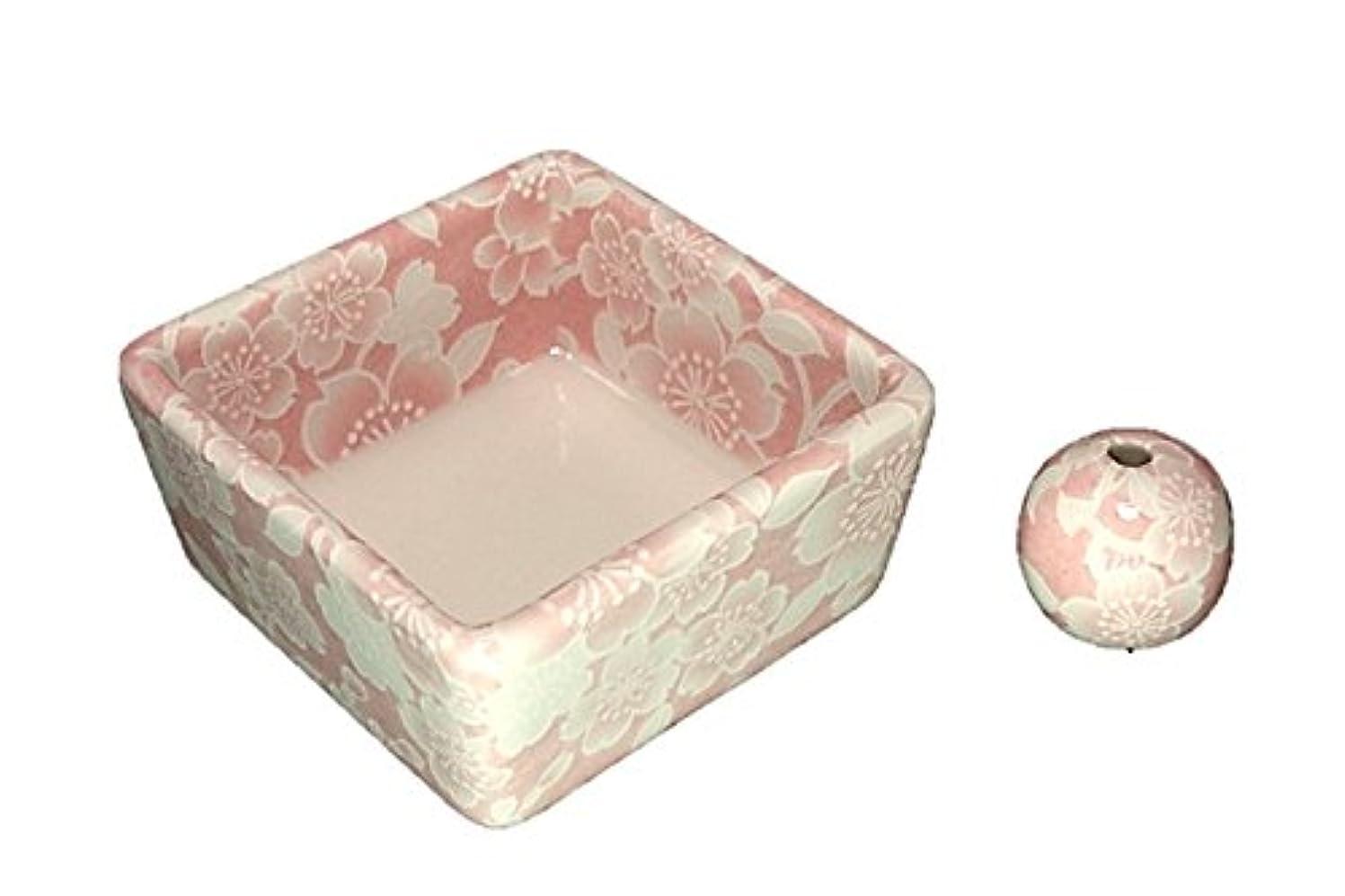 二年生時々ヒゲクジラ和モダン 桜友禅 ピンク お香立て 陶器 角鉢 製造直売品