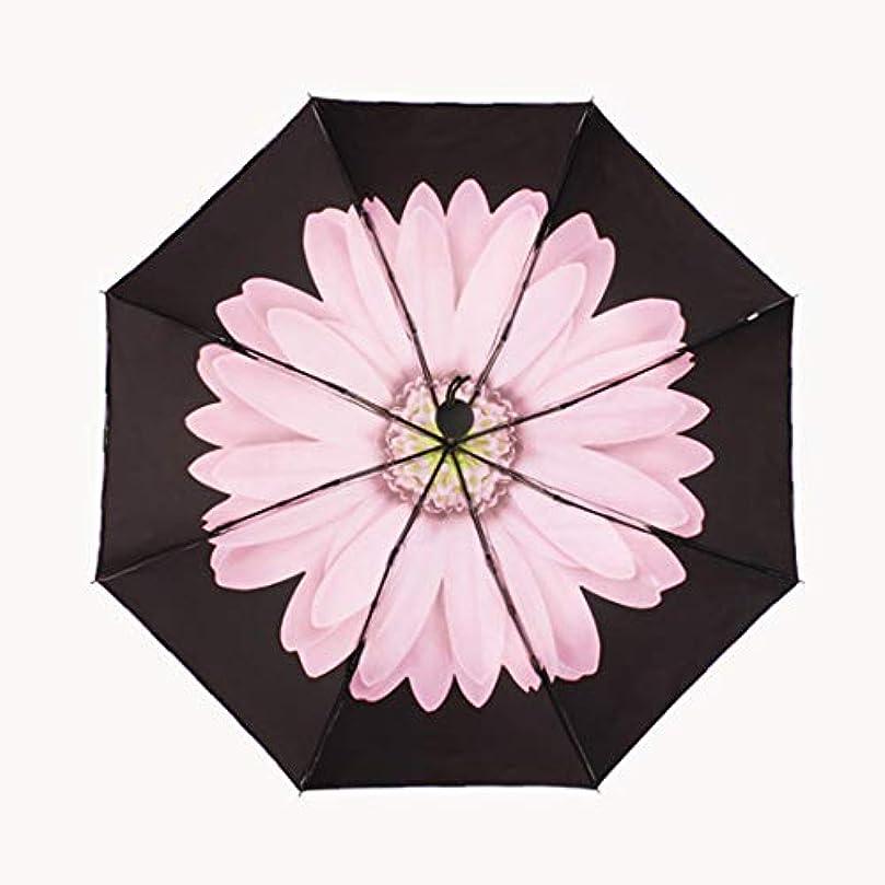 シンポジウム落胆する宣言するHOHYLLYA デイジーパターンの女性の黒い太陽傘三つ折り屋外UV保護防風傘ポータブル防風傘 sunshade (色 : ピンク)