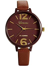 Lancardo 腕時計 レディース スポーツ 腕時計 レザー バンド アナデジ表示 防水 シンプル クォーツ腕時計 ブラウン レディース アクセサリー