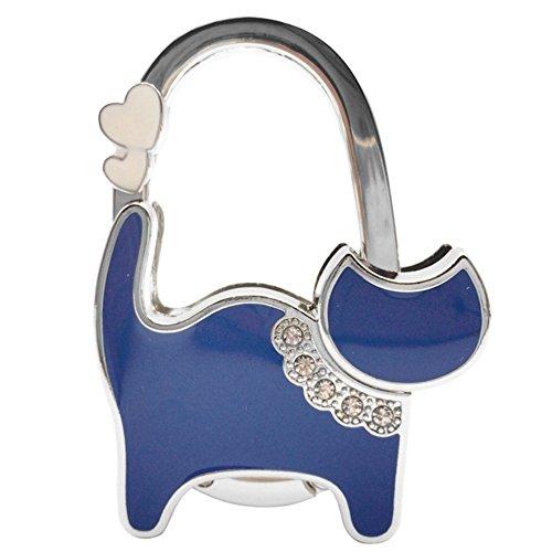 OHAGI バッグチャーム バッグハンガー バッグフック バッグホルダー かばん掛け 猫 ねこ 型 (ブルーオイル)