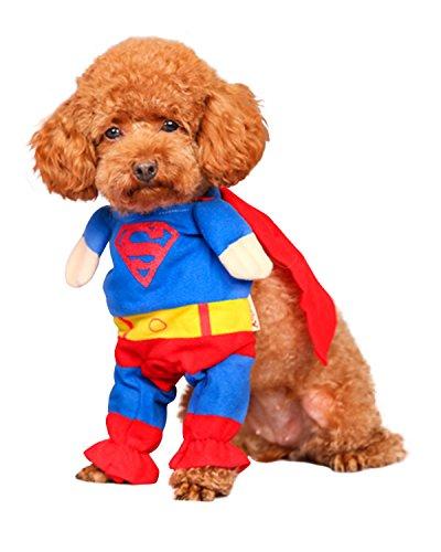 Spring fever 犬 猫 服 ペット コスチューム スーパーマン ドッグウェア ハロウィン クリスマス 変身 コスプレ 犬服 2足立ち 小型犬用 S