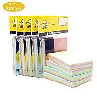 付箋紙、付箋紙、カラー付箋紙セット、プレミアムピュアペーパー長方形スクエアステッカー、100個