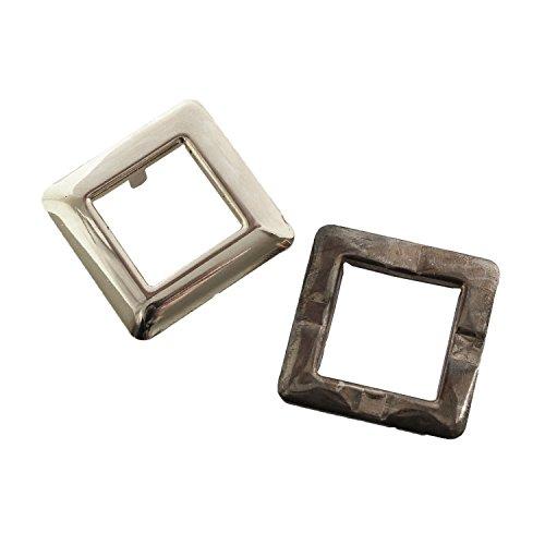 ツメ式ハトメ 正方形 大 シルバー 内寸2.5×2.5cm 2組入 F5-433