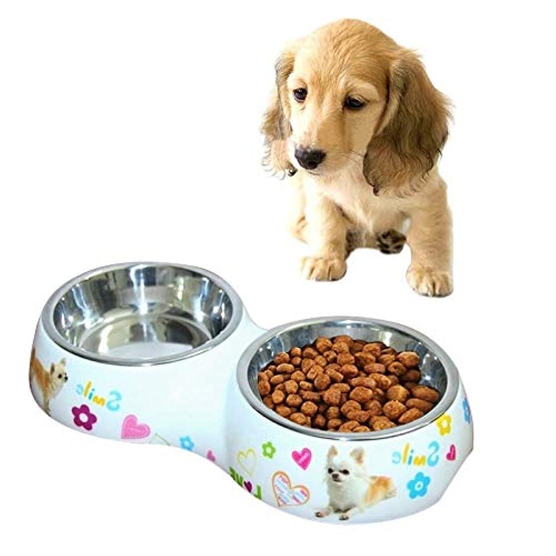 KUNPN ステンレス鋼 防水 取り外し可能 二つボール ドッグボウル 猫 犬 ペットボウル サイズ:S(26 * 13.5 * 4.5 cm)