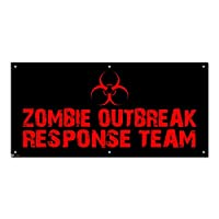 グラフィックスと詳細ゾンビOutbreak Response Team Biohazard–BoysハロウィンパーティーCelebration Sign Banner–46cm (幅) X 22cm (高さ)