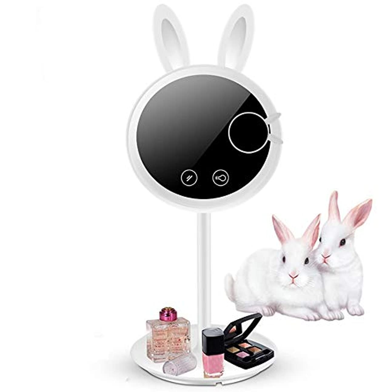 パール音楽家仕える流行の 新しいバニーLEDフィルライト化粧鏡と光インテリジェントフィルライトデスクトップ化粧鏡ABS小さなギフトホワイト